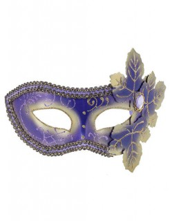 Venezianische-Augenmaske Domino Blätter lila-gold