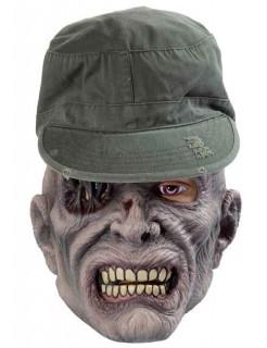Zombie-Maske mit Kappe für Halloween grün-grau
