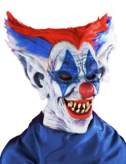 Horror-Clown Grusel-Maske Halloween weiss-blau-rot