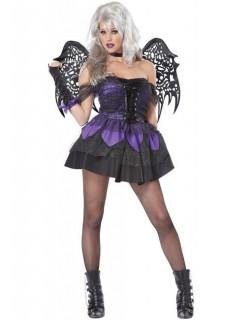 Dunkle Gothik-Fee Halloween Damenkostüm schwarz-lila
