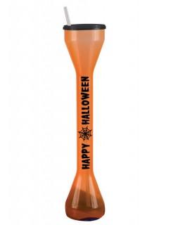 Riesen Halloween Trinkglas Party-Gadget 720ml orange-schwarz 40cm