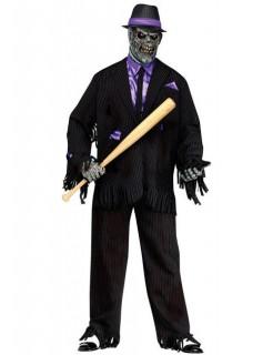 Zombie Mafia Gangster Halloween-Kostüm schwarz-lila