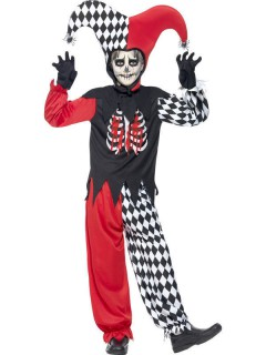 Böser Hofnarr Halloween Kinderkostüm schwarz-rot