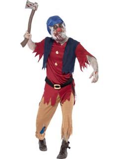 Zombie-Zwerg Halloween blau-rot-braun