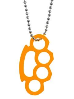 Schlagring-Halskette Kostümaccessoire orange-silber