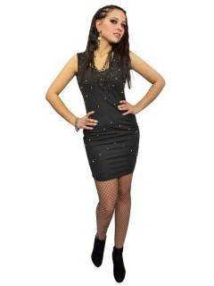 Gothic Nieten-Minikleid schwarz
