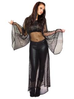 Gothic Netz-Kleid mit Spitze schwarz