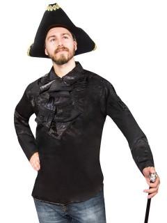 Gothic Satin-Rüschenhemd Halloween schwarz