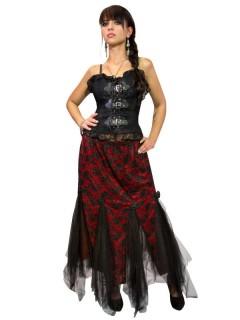 Gothic Tüll-Rock Spitze schwarz-rot