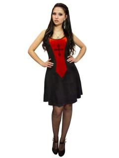 Gothic Mini-Kleid mit Kreuz schwarz-rot