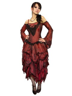 Gothic Satin-Kleid mit Spitze rot-schwarz