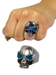 Gothic-Ring Totenkopf mit Brille edelstahl silber-blau