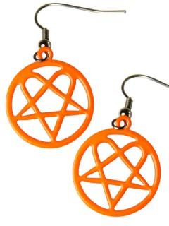 Pentagramm-Ohrringe Metal-Schmuck neonorange-silber