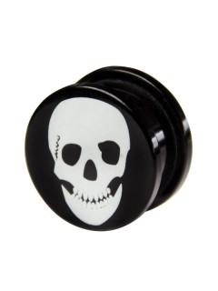 Piraten-Totenkopf Plug Ohrschmuck schwarz-weiss 11mm