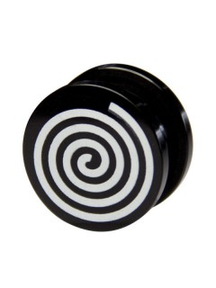Spiral-Ohrplug schwarz-weiss 11mm