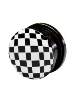 Plug Schachbrett schwarz-weiss 17mm