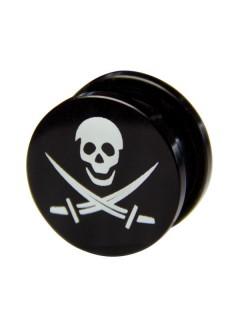 Plug Totenkopf und Schwerter Piraten-Accessoire schwarz-weiss 17mm