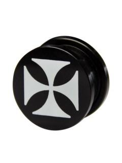 Plug Iron Cross schwarz-weiss 19mm