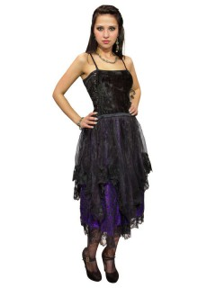 Gothic Samt-Kleid oder -Rock mit Schnürung schwarz-violett