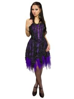 Gothic Corsagen-Kleid mit Spitze schwarz-lila