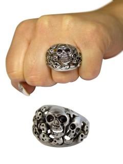 Gothic Metal-Ring Schädelhaufen silber