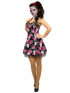 Hearts and Roses Rockabilly 50er Petticoat-Kleid Skull schwarz-pink