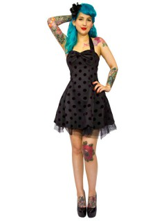 Rockabilly 50er Petticoat-Minikleid mit Punkten schwarz