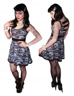 Kreepsville Gothic Kleid Skulls schwarz-weiss