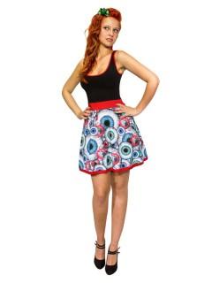 Kreepsville Gothic Kleid Augäpfel schwarz-rot-weiss