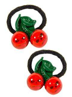 Kreepsville Gothic Haargummi-Set Totenkopf Kirsche schwarz-grün-rot