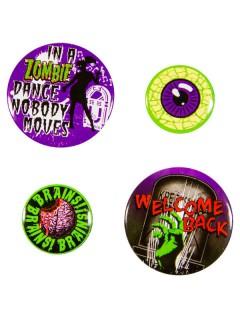 Kreepsville Gothic Zombie Button-Set 4-teilig bunt