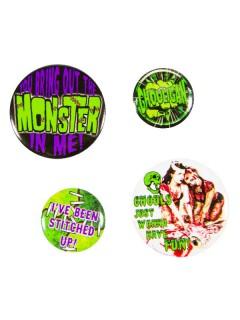 Kreepsville Monster Button-Set 4-teilig schwarz-grün