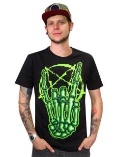 Kreepsville Gothic T-Shirt Skeletthand Rock schwarz-grün