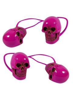 Kreepsville Gothic Haarband Totenkopf pink