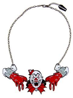 Kreepsville Gothic Halskette Horrorclown weiss-rot