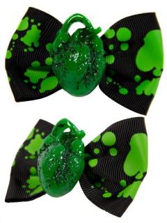 Kreepsville Gothic Haarklammern Herz Schleife schwarz-grün