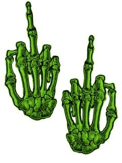 Kreepsville Gothic Aufnäher Skeletthände Mittelfinger grün 2 Stück