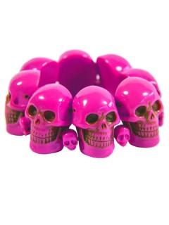 Kreepsville Gothic-Armreif Totenkopf pink 1,5cm