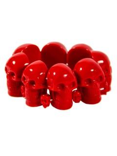 Gothic-Armreif Kreeepsville Totenkopf rot