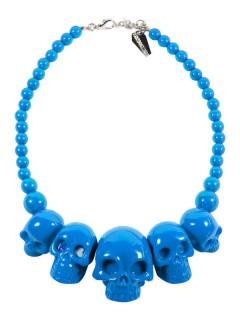 Totenkopf-Halskette Kreepsville Gothic-Accessoire blau