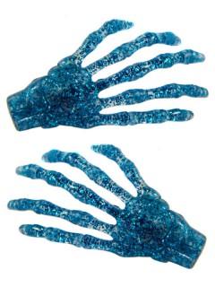 Kreepsville Skeletthand-Haarklammern glitzernd blau