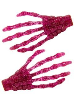 Kreepsville Skeletthand-Haarklammern glitzernd pink
