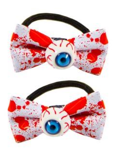 Kreepsville Gothic Haargummi-Set Augen Schleife blutig weiss-rot