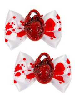 Kreepsville Gothic Haarklammern Herz Schleife weiss-rot