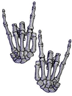 Kreepsville Gothic Aufnäher Skeletthände Rock grau 2 Stück XL
