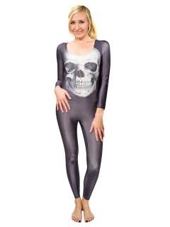 Speedsuit Totenkopf für Damen blau-grau