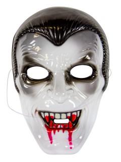 Halloween Maske Vampir schwarz-rot-transparent