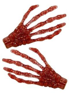 Kreepsville Gothic Haar-Klammern Skeletthand Glitzer rot