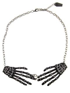 Kreepsville Halskette mit Skeletthänden schwarz