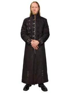 Gothic Mantel lang mit Haken und Ringen schwarz